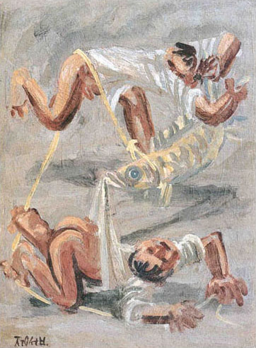 Two Children Playing with Fish