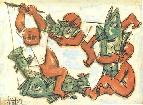 Three Children Playing with Fish