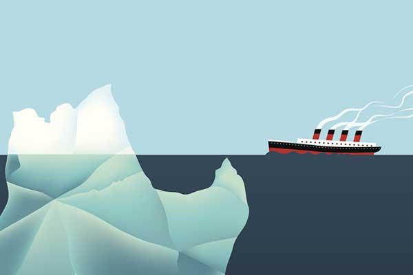 배가 빙산에 _______.