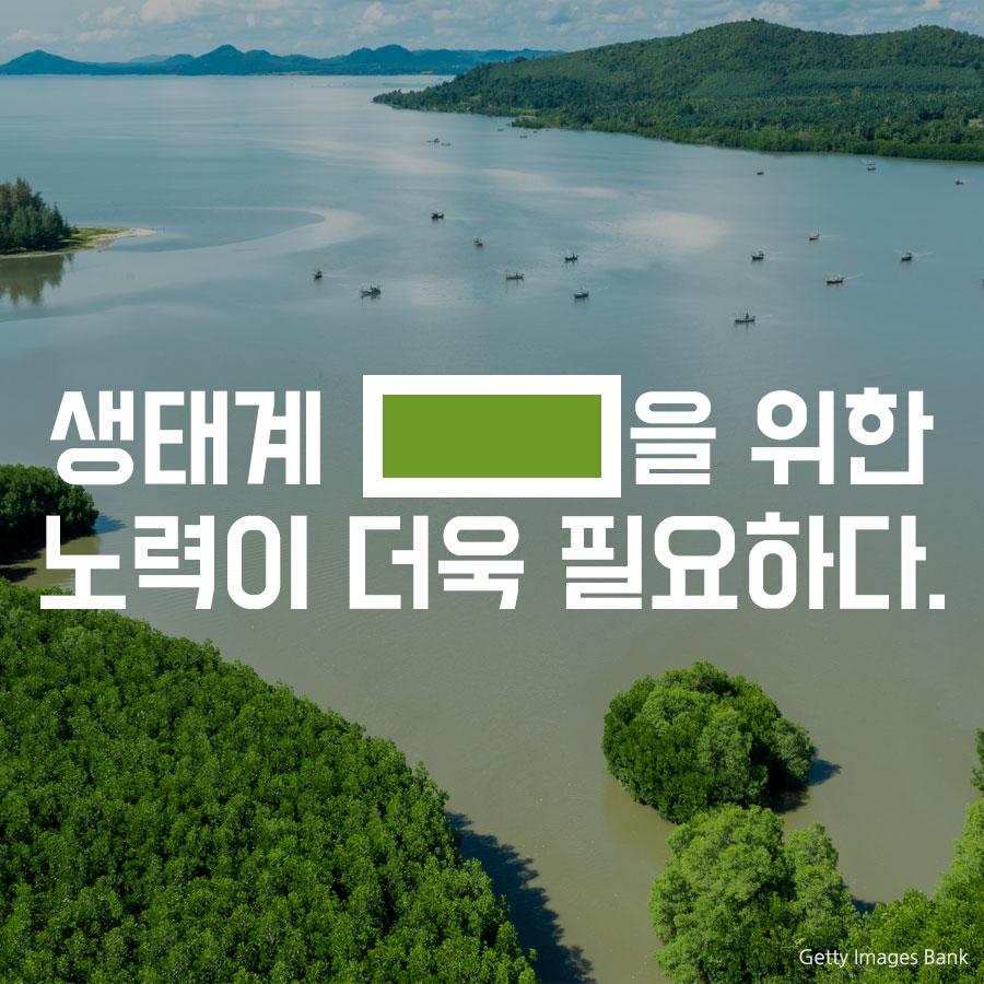 생태계 ___을 위한 노력이 더욱 필요하다.