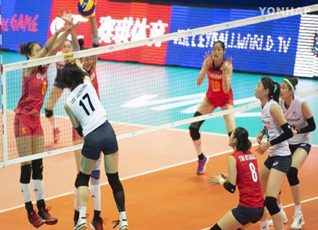 韩国女排战胜劲旅中国队