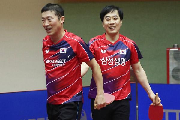 Legenden des koreanischen Tischtennis tragen Event-Wettbewerb aus