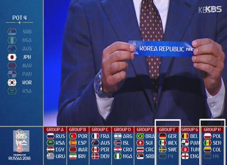 世界杯韩国队与德国、瑞典和墨西哥同入F组