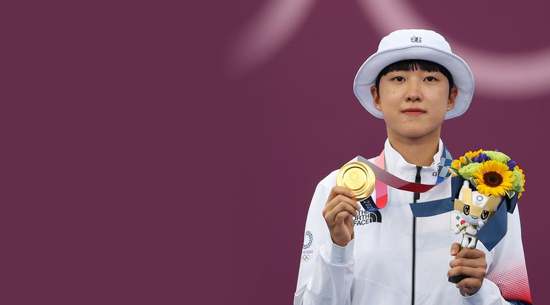안산, 여자 양궁 개인전 금메달…첫 3관왕 달성